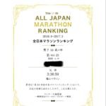 2017年度全日本マラソンランキング発表。平均タイムは4時間36分57秒前後。